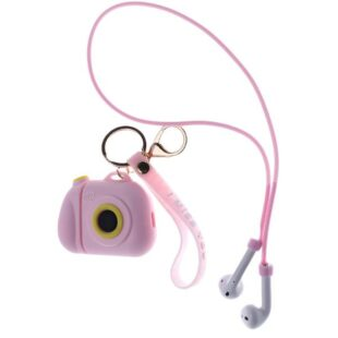 Air Pod 3D Silicone Case Pink Camera