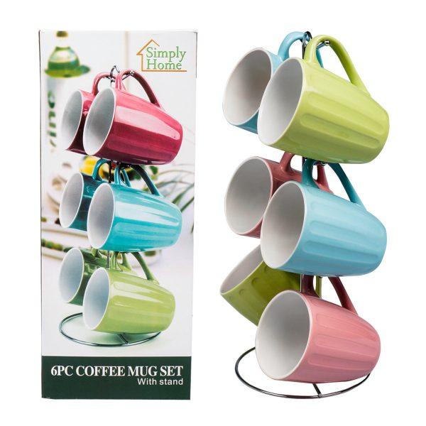 6 Pc 11oz Ceramic Coffee Mug Set and Stand